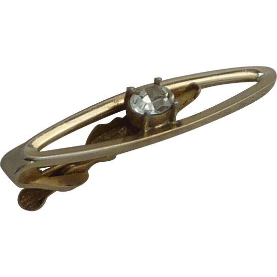Dante Gold Tone Tie Bar with Large Rhinestone