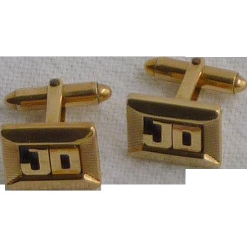 J D Initial Kreisler Gold Tone Cuff Links Cufflinks