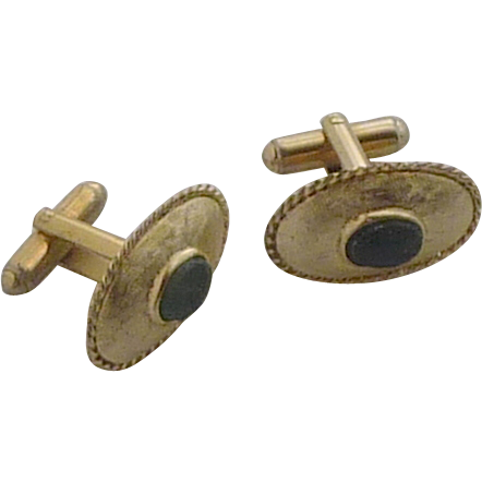 Oval Brush Gold Tone Jade Green Cufflink Cuff Links