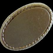 Oval Brush Silver Skinny Tie Clip 1950's