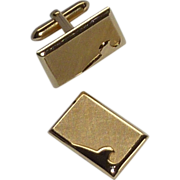 Brushed Gold Tone Rectangle Cufflinks Cuff Links