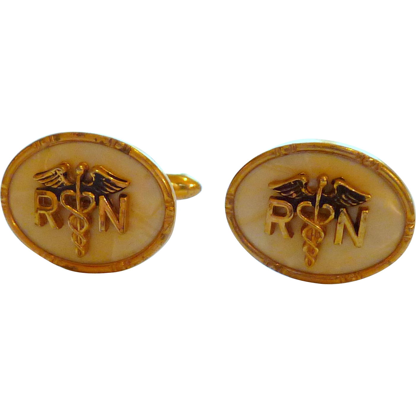 Mother of Pearl Gold Tone RN Cuff Links Cufflinks