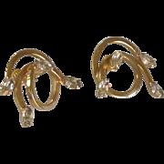 Vitoge Curly Cue Diamond Rhinestone Clip On Earrings