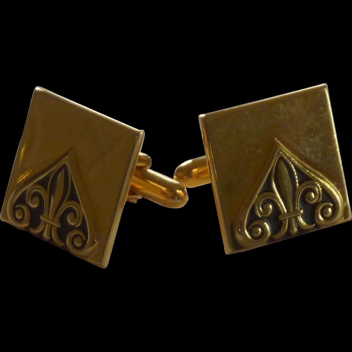 Swank Gold Tone Square Fleur De Lis Design Cuff Links Cufflinks
