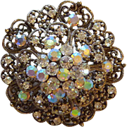 Beautiful Silver Tone Circular High Dome Clear Rhinestone Pin