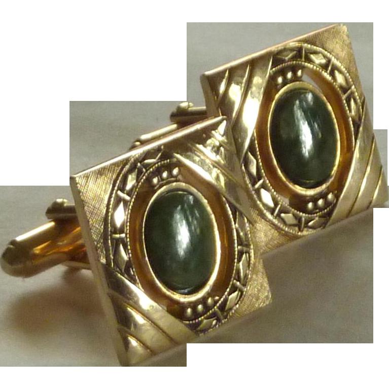 Anson Gold Tone Faux Jade Green Stone Cuff Links Cufflinks