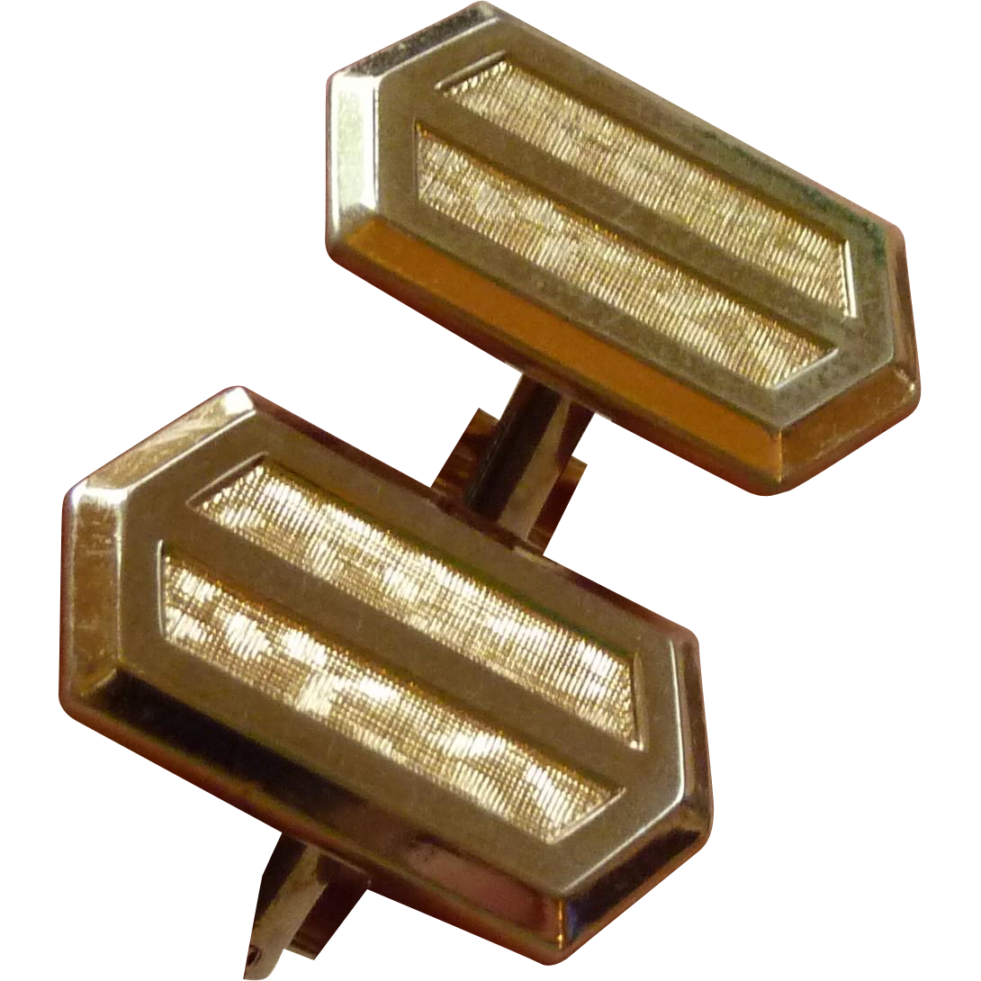 Gold Tone Mid Century Hickok Brushed Cufflinks Cuff Links