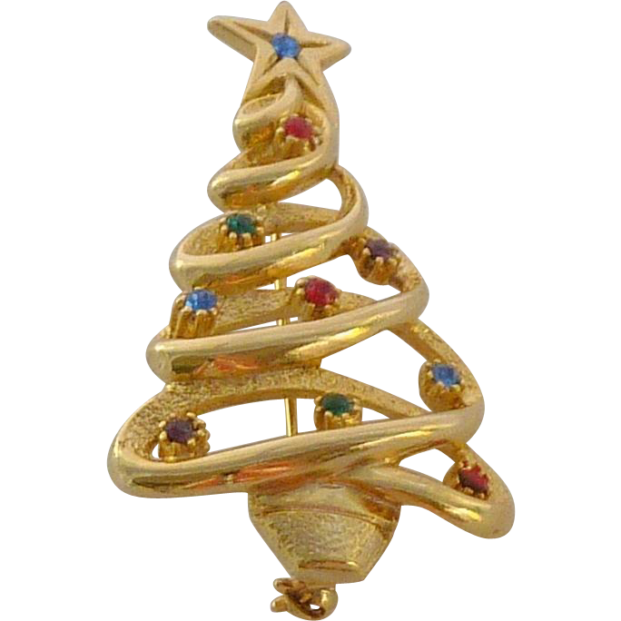 Gold Tone Rhinestone Christmas Tree