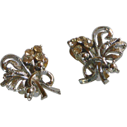 Silver Tone and Rhinestone Diamond Flower Bouquet Earrings