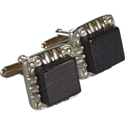 Silver Tone Wood Center Cufflink Cuff Links