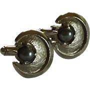 Shields Faux Black Pearl Silver Tone Cuff Links Cufflinks