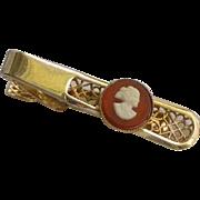 Pioneer Gold Tone Cameo Tie Bar