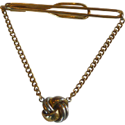 Swank Tie Bar with Chain and Love Knot