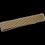 "Diagonal Stripes Gold Tone Tie Bar 3"""
