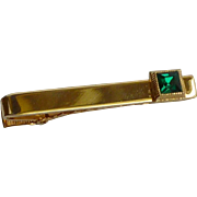 Gold Tone Green Rhinestone Alligator Tie Bar