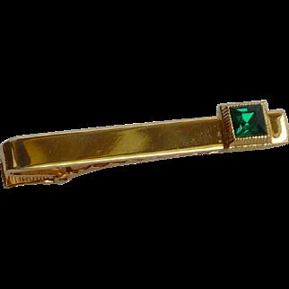 Gold Tone Green Rhinestone Alligator Tie Bar