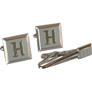 Swank Silver Tone Initial H Cuff links and Tie Bar