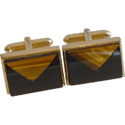 Tiger Eye and Black Glass Gold Tone Cufflinks Cuff Links