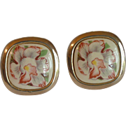 Floral Orchids Silver Tone Cufflinks Cuff Links
