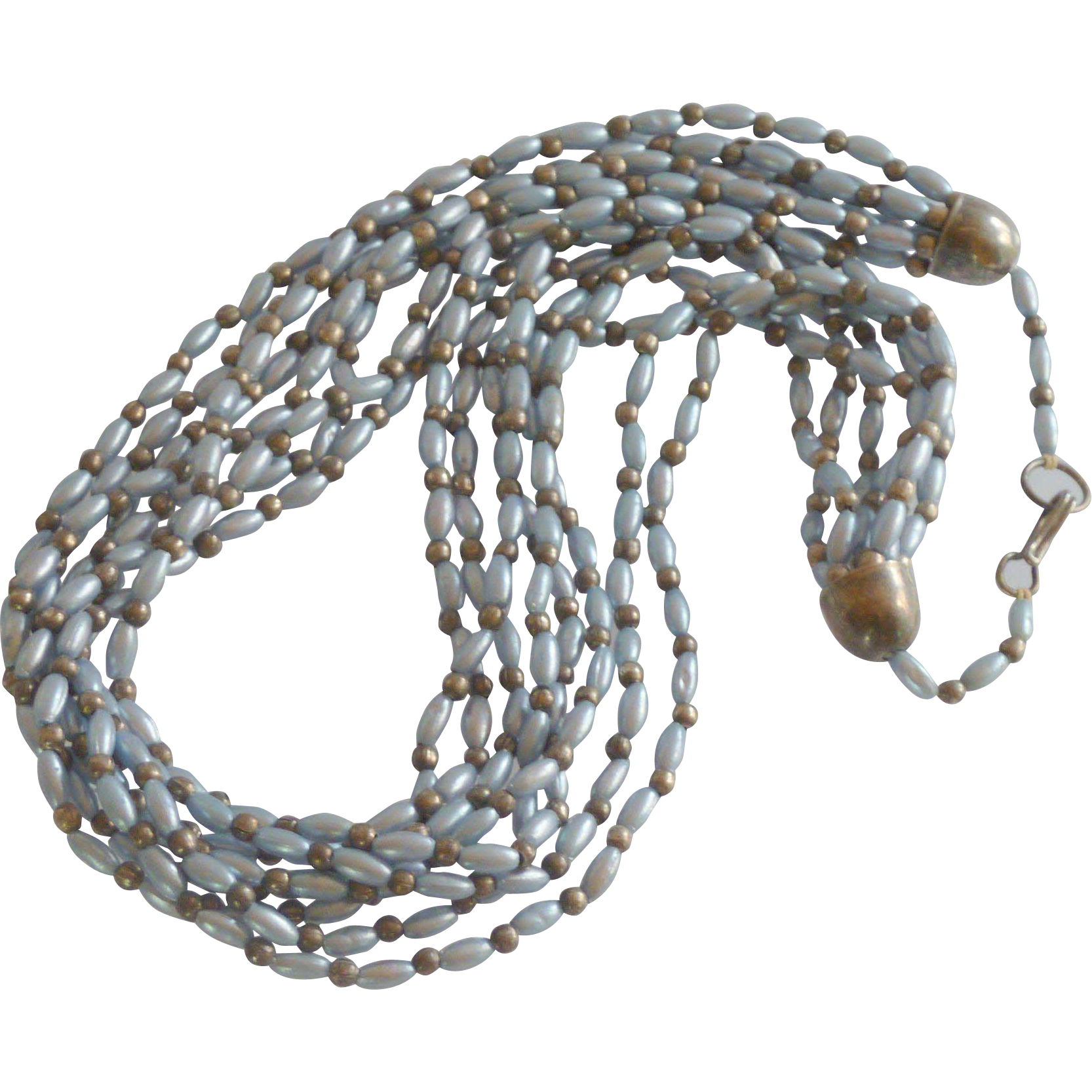 Blue Grey Multiple Strand Oval Seed Necklace