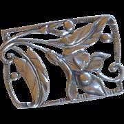 Art Nouveau Trumpet Flower Silver Tone Pin Brooch