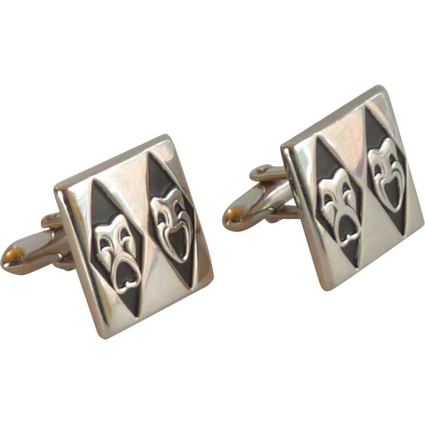 Theatre Silver Tone Comedy and Tragedy Cufflinks Cuff Links