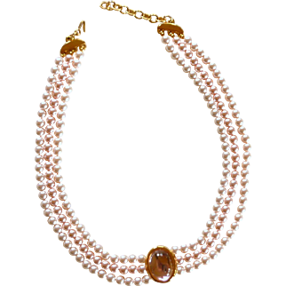 Monet 3 Strand Pearl Necklace with Pink Acrylic Stone