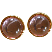 Monet Acrylic Pink Stone Gold Tone Earrings