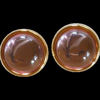 Monet Acrylic Pink Stone Gold Tone Earrings