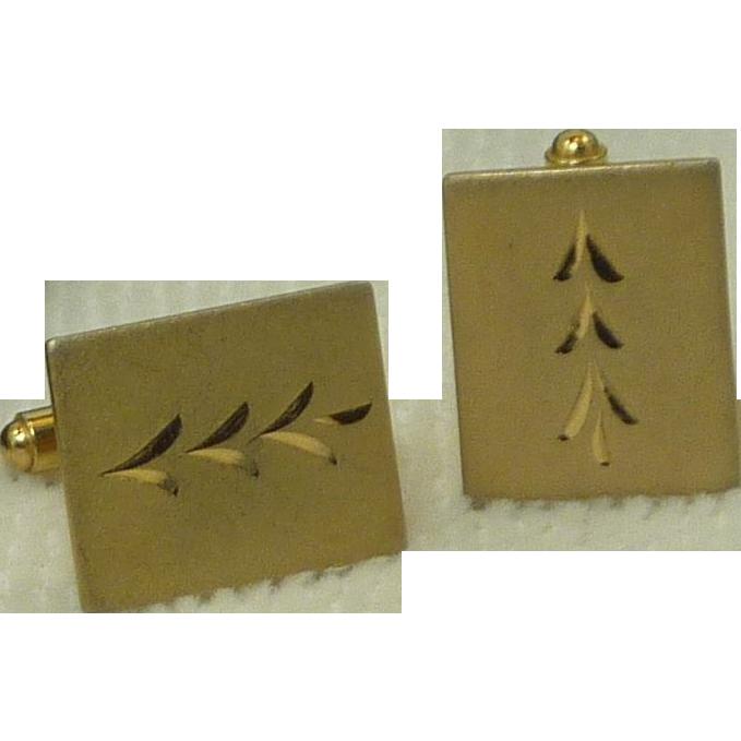 Gold Tone Rectangular Etched Cufflinks Cuff Links
