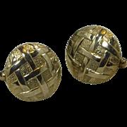 Gold Tone Round Hatch Design Cuff Links Cufflinks