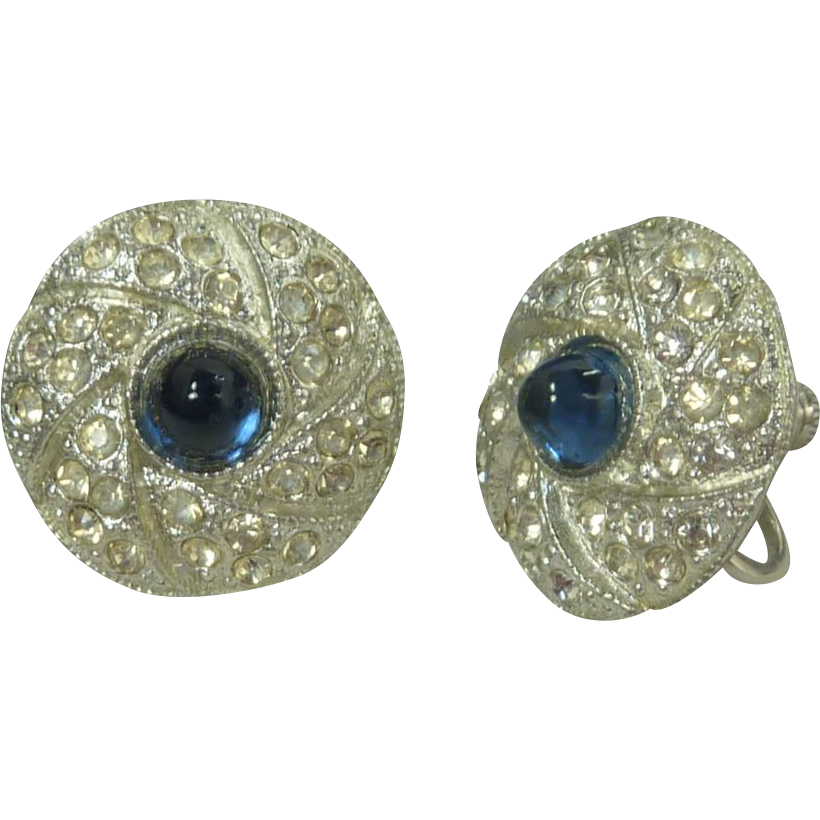 Blue Glass Rhinestone Silver Tone Screw Back Earrings