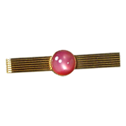 Pink Mauve Moonstone Gold ToneTie Bar