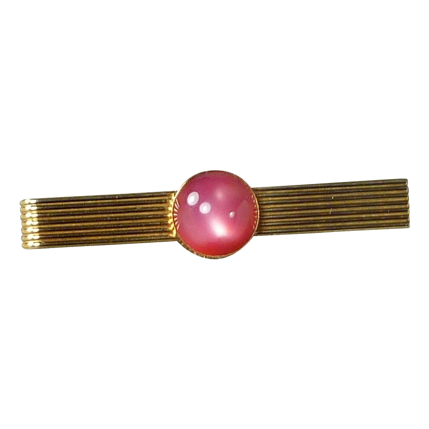 Pink Mauve Moonstone Gold ToneTie Bar