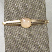 White Creme Faux Moonstone Gold Tone Tie Bar