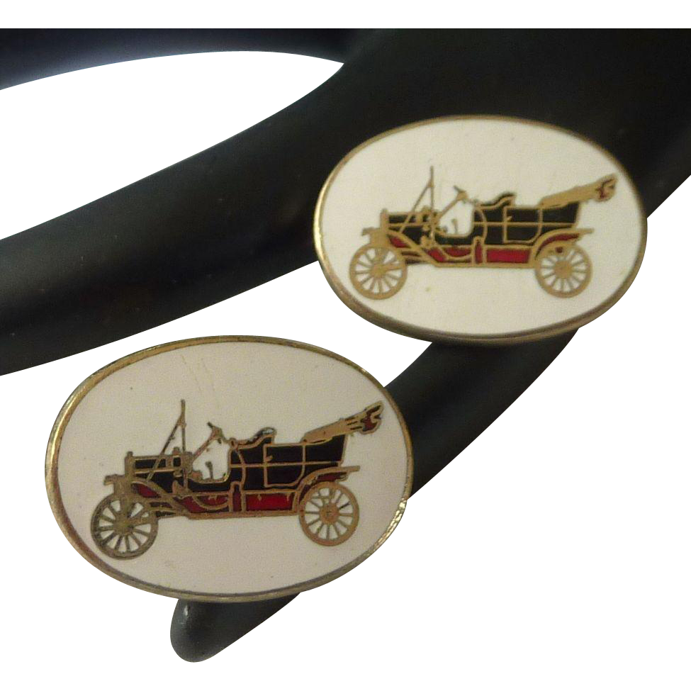 Convertible Car On White Enamel Cufflinks Cuff Links