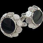 Black Glass Center Silver Tone Retro Cufflinks Cuff Links
