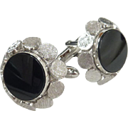 Black Glass Center Silver Tone Retro Cufflinks Cuff Links