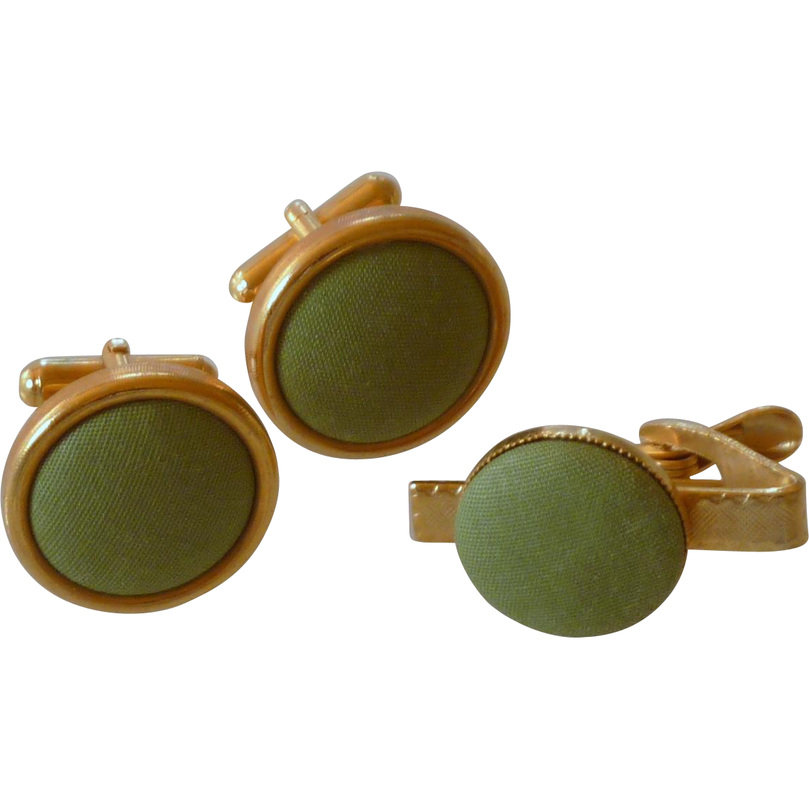 Apple Green Cloth Cufflinks Cuff Links & Tie Clasp