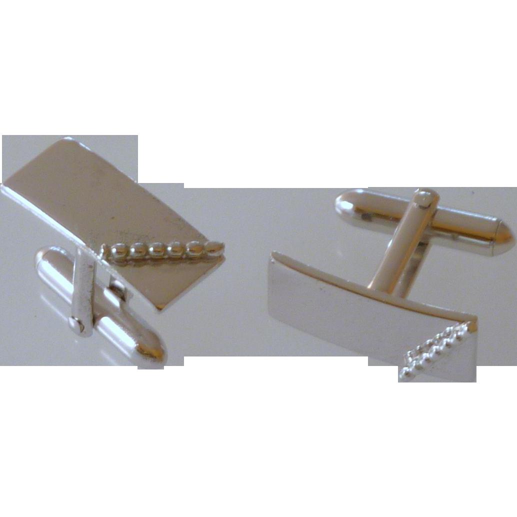 Swank Silver Tone Rectangular Cufflinks Cuff Links