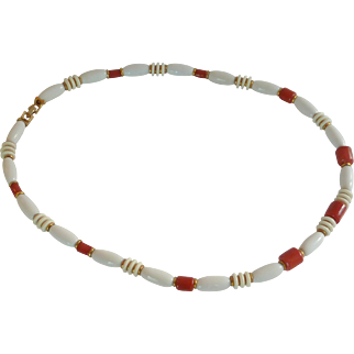 White and Orange Red Plastic Beads Necklace