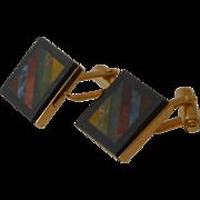 Black Border Gold Tone Mosaic Rock Top Cuff Links Cufflinks