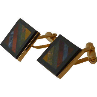 Black Border Gold Tone Mosaic Rock Top Cuff Links Cufflinks