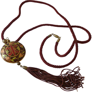 Marron Cloisonne  Necklace with Tassel