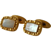 Gold Tone Mother of Pearl Cufflinks Cuff Links 1930's