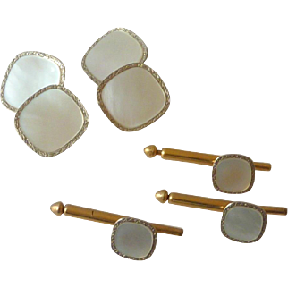 White Mother of Pearl Silver Tone Cufflinks & Tuxedo Buttons