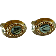 Gold Tone Black and White Rock Cuff Links Cufflinks