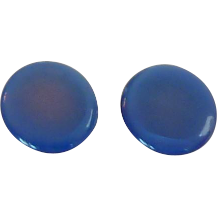 Round Lisner Moon Glow Blue Clip On Earrings