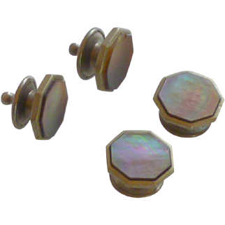 Mother of Pearl Silver Tone Snap Cuff Links Cufflinks