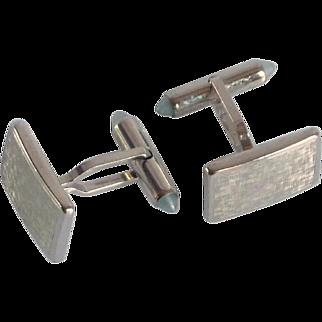 Brushed Silver Tone Krementz Cuff Links Cufflinks